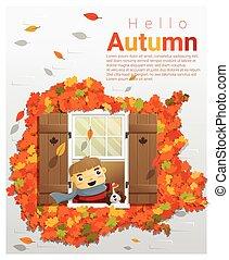 Hello autumn background with little boy 2 - Hello autumn...