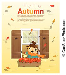Hello autumn background with little girl 2 - Hello autumn...