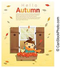Hello autumn background with little girl 2 - Hello autumn...