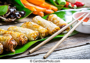 Freshly fried spring rolls