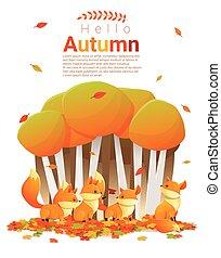 Hello autumn background with foxes 2 - Hello autumn...
