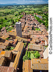 View of a green valley in San Gimignano, Italy