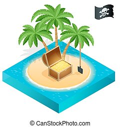 Pirate treasure on a tropical beach with palm trees and treasures.