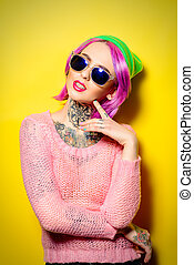ultra trendy - Bright fashion concept. Trendy girl with...