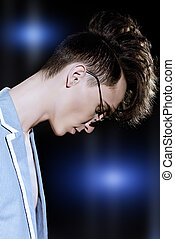 avant-garde hairstyles - Male hairstyle concept. Fashionable...
