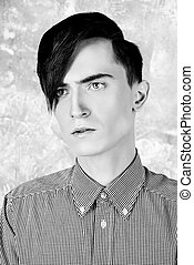 long fringe - Portrait of a young man with fashionable...