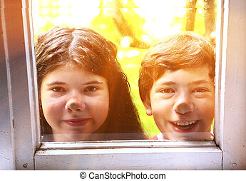 siblings couple brother and sister close up photo - teen...