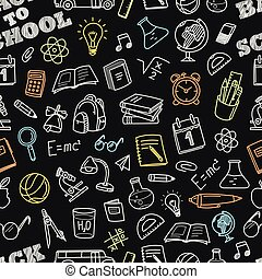 Back to school chalk doodles seamless pattern Education...