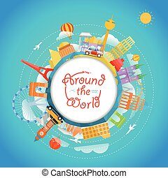 Famous signts around the world Travel concept vector...