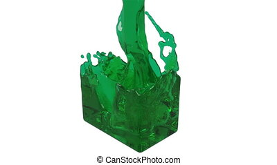 green fluid fills up a rectangular container clear liquid -...