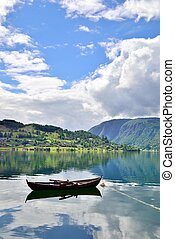 Rowboat in a fjord