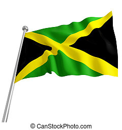 jamaica flag - 3d model of jamaica flag on white background