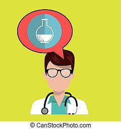 doctor stethoscope glass bubble vector illustration graphic