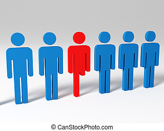 handicap man in a row with others 3d model