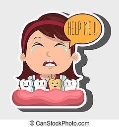 childhood sick pain tooth vector illsutration graphic