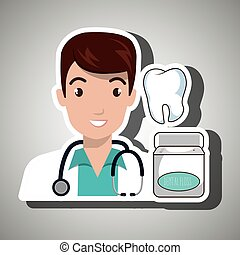 doctor tooth stethoscope mouthwash vector illustration eps...