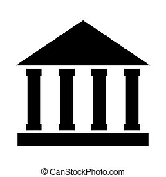 bank building construction silhouette icon vector...