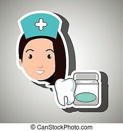 nurse tooth health mouthwash vector illustration eps 10