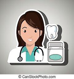 nurse tooth stethoscope mouthwash vector illustration eps 10