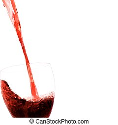 Vector red wine stream flows into glass. Filled with solid...