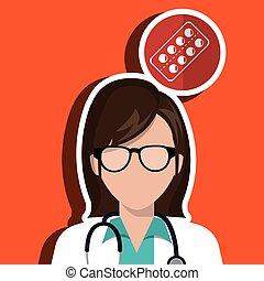 doctor stethoscope glass medicine vector illustration...