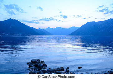 Bay of Kotor in Evening. Panorama of Boka-Kotorska bay,...