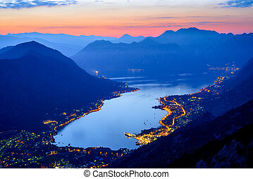 Bay of Kotor at Night. Panorama of Boka-Kotorska bay. Aerial...
