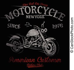 T-shirt print with motorcycle on dark background and grunge...