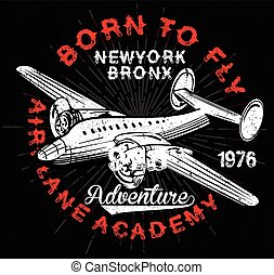 Vintage Airplanes typography, shirt graphics, vectors