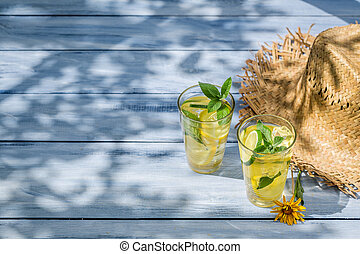 Cold drink with lemon and mint leaf as summer background