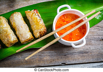 Spring rolls and sweet and sour sauce