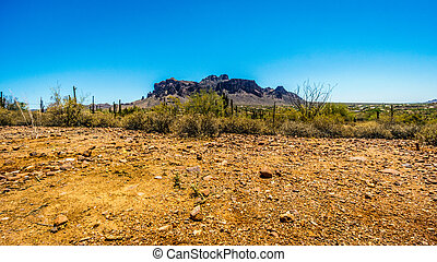 The town of Apache Junction at the foot of Superstition...