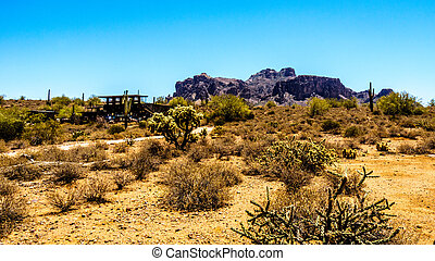 Lost Dutchman State Park with Superstition Mountain in the...