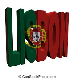 Lisbon 3d text with Portuguese flag on white illustration