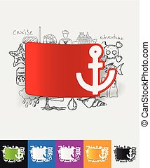 anchor paper sticker with hand drawn elements - hand drawn...