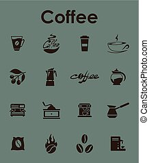 Set of coffee simple icons - It is a set of coffee simple...
