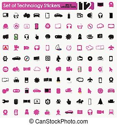 Set of technology stickers - technology vector sticker icons...