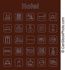 Set of hotel simple icons