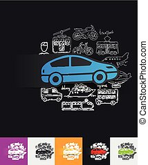 car paper sticker with hand drawn elements - hand drawn...