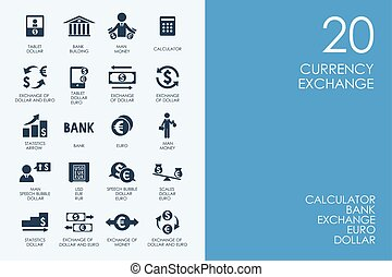 Set of BLUE HAMSTER Library currency exchange icons