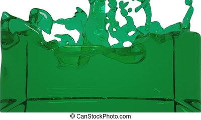 turbulent green liquid filling the frame clear liquid -...
