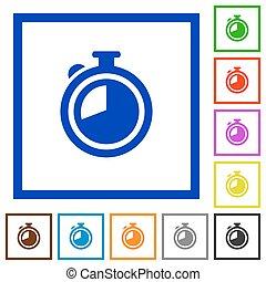 Timer framed flat icons - Set of color square framed timer...