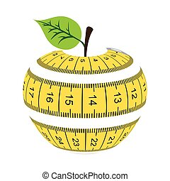 tape measure apple healthy vector illustration eps10