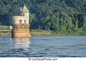 Water intake tower on Mississippi River - Historic water...