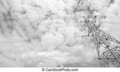 High voltage towers with sky background - High voltage...