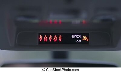Seat belt warning light of car dashboard - Close up car...