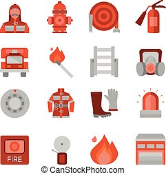 Fire Department Flat Icons Set - Fire department flat icons...