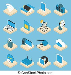 Wireless Technology Isometric Icons On Pedestals - Wireless...