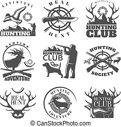 Hunting Emblem Set - Hunting emblem set with adventure...