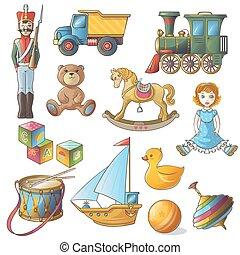 Kids Toys Icon Set - Kids toys icon set with isolated...